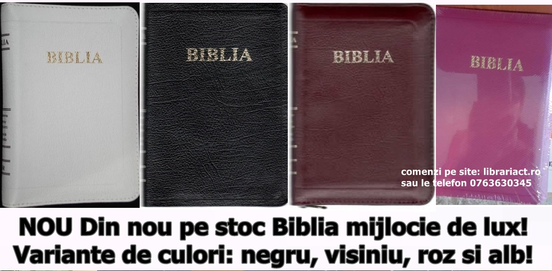 Din nou pe stoc Biblia mijlocie de lux! Variante de culori: negru, vișiniu, roz și alb!